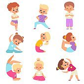 Children yoga. Cute kids yoga poses collection, happy flexible boys and girls in lotus meditation position, asana and balance, inner harmony healthy lifestyle. Vector cartoon isolated set