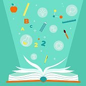 Educational book. Open textbook with education items, numbers stationery and formulas, encyclopedia with white paper sheets, red books, literature in library, knowledge symbol vector concept