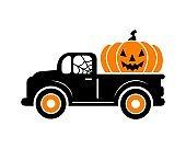 Halloween truck  silhouette with orange pumpkin.