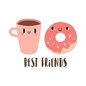 Best friends: cartoon donut and cup of coffee