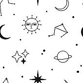 Monochrome Space Vector Seamless Pattern