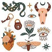 Doodle bohemian set with magic esoteric elements