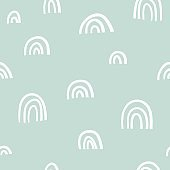 Trendy creative seamless pattern with hand drawn abstract shapes