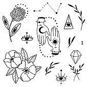 Doodle mystic set with magic elements