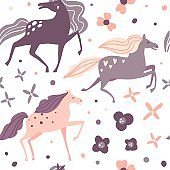 Seamless pattern with beautiful horses and flowers