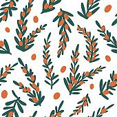 Sea buckthorn branch seamless pattern
