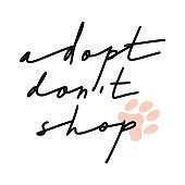 Adopt don't shop. Hand drawn inspirational lettering quote about pets