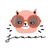 Summer. Funny cat with sun glasse