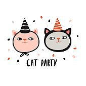 Cat party. Funny cats in
