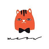 Funny cat. Meow. Design for card, print, poster