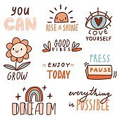 Motivational phrases with doodles and lettering