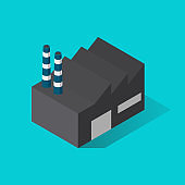 Factory building isometric view