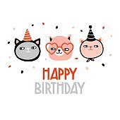 Happy birthday. Funny cats in holiday hat
