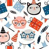 Kitten party seamless pattern
