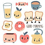 Good morning. Funny breakfast characters
