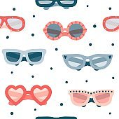 Colorful summer glasses seamless pattern