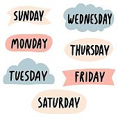 days of the week Lettering with bubbles