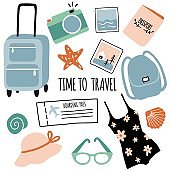 Hand drawn set  with travel objects