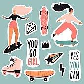 Girls on skateboard, longboard patches