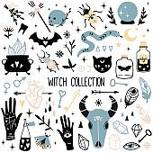 Big witch magic design elements collection