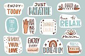 Yoga, mindfulness patches collection. Stickers, badges