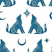 Seamless pattern with mystic wolf, moon and star