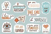 Motivational patches. Love collection