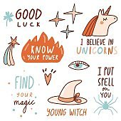 Magical motivational quotes with doodles and lettering