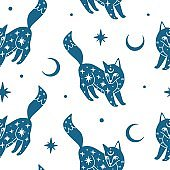 Seamless pattern with mystic fox, moon and stars