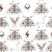 Seamless pattern with doodle mystic moths