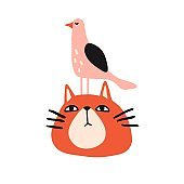 Funny cat and bird. Cute design for card