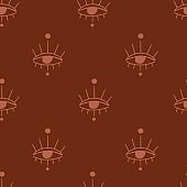Seamless pattern with occult mystic eyes and dots