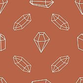 Seamless pattern with diamonds, crystals