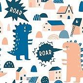 Dino roar seamless pattern.
