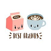 Best friends: cartoon milk and cup of coffee