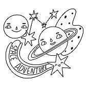 Space adventure design for card, sticker, print, coloring page