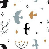 Simple minimalist seamless pattern with yellow, black and blue doodle birds, plants