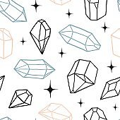 Seamless pattern with diamonds, crystals and sparkles