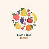 Set of isolated hand drawn fruits and berries.