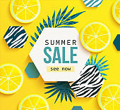 Summer sale banner,sea, sun in a simplified style.
