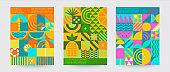 Set of geometric sumer backgrounds.