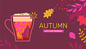 Autumn banner with fall leaves and hot drink.