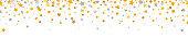 Golden and gray stars border. Celebration long banner. Gold and silver shooting stars. Glitter elegant design elements. Magic decoration. Christmas texture. Home decor. Vector illustration