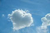 Heart-shaped cloud, sunny day