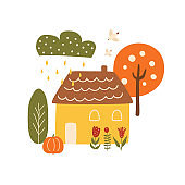 Autumn mood Autumn house vector illustration. Fall town, pumpkin, country house isolated.