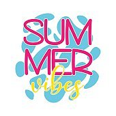 Vector Summer Vibes illustration on sea water background isolated on white. Summer colorful banner, typography poster with decor elements.