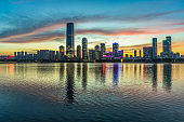 urban skyline and modern buildings at dusk, cityscape of China