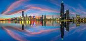 The twilight of the Gulf of Shenzhen skyline