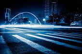 Vehicle light trails at city road, china