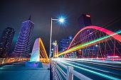 Motion blurred car at bridge,tianjin city